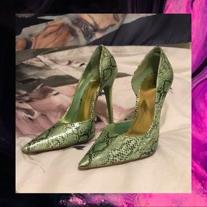 Bakers Green And Gold Snakeskin Heels